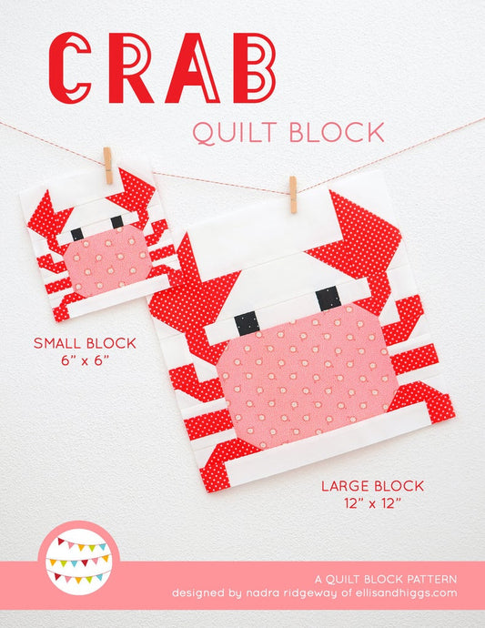 Pattern, Nautical Crab Quilt Block by Ellis & Higgs (digital download)