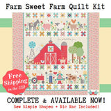 "Quilt Kit, ""FARM SWEET FARM"" Fabric Collection + Applique Templates & Ric Rac - by Lori Holt for Riley Blake"