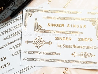 Load image into Gallery viewer, Decals, Gold Celtic Knot Style for the Singer Featherweight 221, 221K Sewing Machine 1933-1937