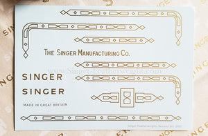 Decals, Gold Paperclip Style for the Singer Featherweight 221, 221K, 222K Sewing Machine 1953-1961