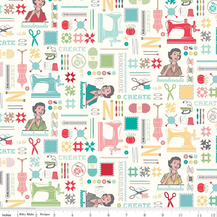 Fabric, My Happy Place by Lori Holt for Riley Blake Designs - HOME DECOR MAIN CREAM  (by the yard)