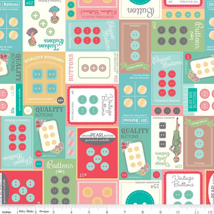 Fabric, My Happy Place by Lori Holt for Riley Blake Designs - HOME DECOR BUTTON CARDS MULTI  (by the yard)