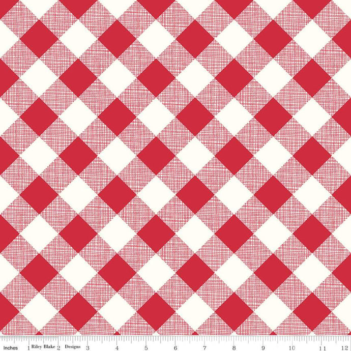 Fabric, My Happy Place by Lori Holt for Riley Blake Designs - HOME DECOR GINGHAM RED  (by the yard)