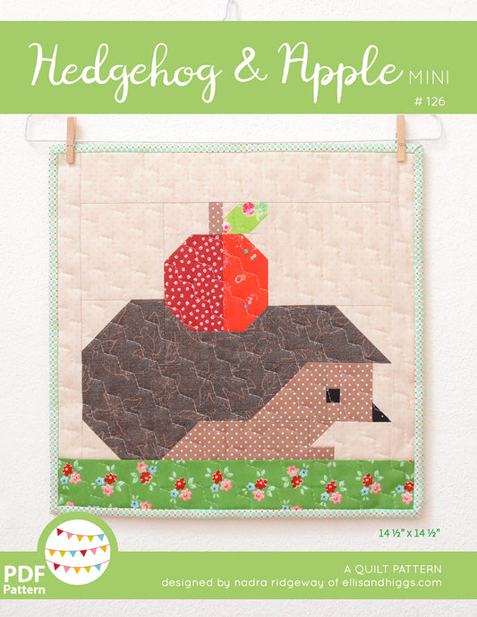 Pattern, Hedgehog & Apple MINI Quilt by Ellis & Higgs (digital download)