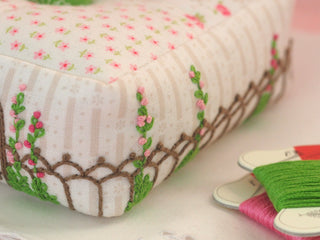 "Load image into Gallery viewer, PATTERN, ""Hollyhocks Pincushion"" by Kristyne Czepuryk Pretty by Hand"