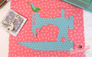 Mini Quilt BLOCK Kit, Farm Girl Vintage Featherweight 1-Block Wallhanging - Flock of Singers Pattern & Diecuts