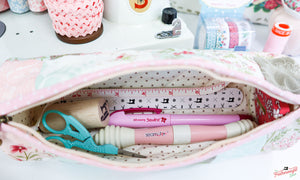 KIT, Romantic Versatile Clutch or Quilted Pencil Case