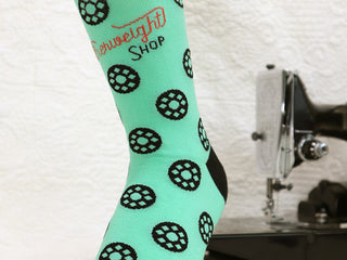 Load image into Gallery viewer, Quilt Socks, Bobbins Jade-ite Green - Featherweight Shop Design