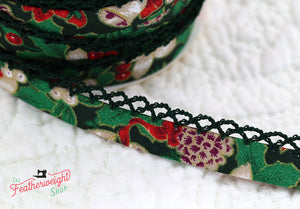 Double Fold Crochet Edge LACE BIAS TAPE - BLACK CHRISTMAS  (SOLD BY THE YARD)