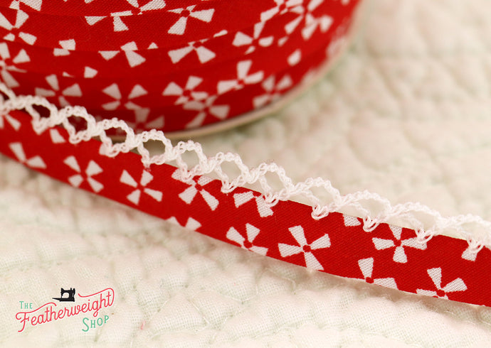 Double Fold Crochet Edge LACE BIAS TAPE - WHITE PINWHEELS ON RED  (SOLD BY THE YARD)