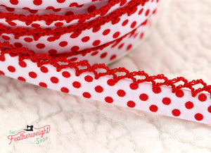 Double Fold Crochet Edge LACE BIAS TAPE - RED POLKA DOT  (SOLD BY THE YARD)