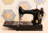 Singer Featherweight 221 Sewing Machine, AF384*** - Top Decal and Corduroy Insert - RARE