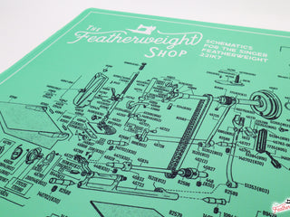 Load image into Gallery viewer, Servicing Mat - GREEN, Featherweight Schematic for White 221K7 Machine