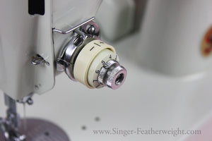 Plus and Minus Indicator Dial, White Singer Featherweight 221K (Vintage Original)