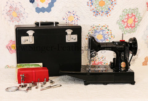 "Singer Featherweight 222K Sewing Machine, RED ""S"" ER0230**"