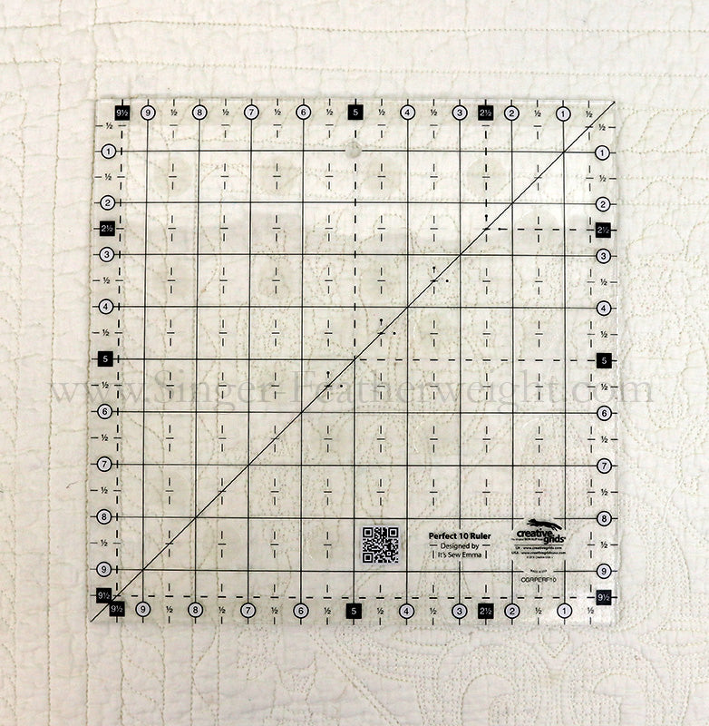 Cutting Ruler, CREATIVE GRIDS Perfect 10 Ruler (with self-grips)
