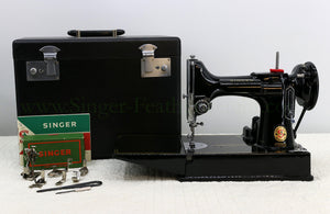 "Singer Featherweight 221K Sewing Machine RED ""S"" ES170***"