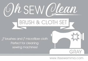 Oh Sew Clean Brush and Cloth Set by It's Sew Emma - GRAY