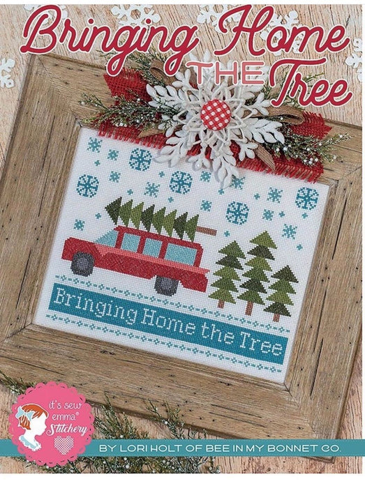 Counted Cross Stitch, BRINGING HOME THE TREE Pattern by Lori Holt