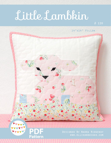 Pattern, Little Lambkin Pillow Cover / MINI Quilt (digital download)