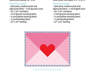 Load image into Gallery viewer, Pattern, Love Letter Pillow Cover / MINI Quilt by Ellis & Higgs (digital download)