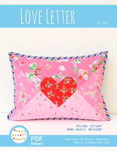 Pattern, Love Letter Pillow Cover / MINI Quilt by Ellis & Higgs (digital download)