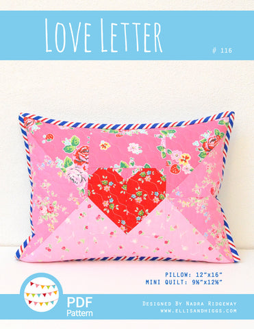 Pattern, Love Letter Pillow Cover / MINI Quilt (digital download)
