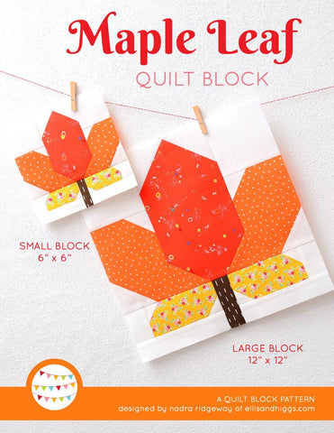 Pattern, Maple Leaf Quilt Block by Ellis & Higgs (digital download)