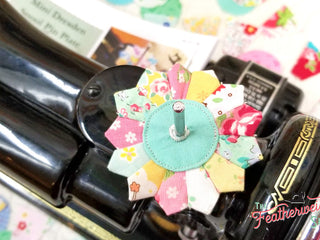 Load image into Gallery viewer, DRESDEN Spool Pin Kit, Pattern + Diecut SCRAPPY HAPPY Fabric Pieces for Featherweight Thread Spool