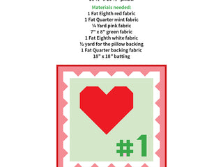Load image into Gallery viewer, Pattern, My Number One Heart Love Pillow Cover / MINI Quilt by Ellis & Higgs (digital download)