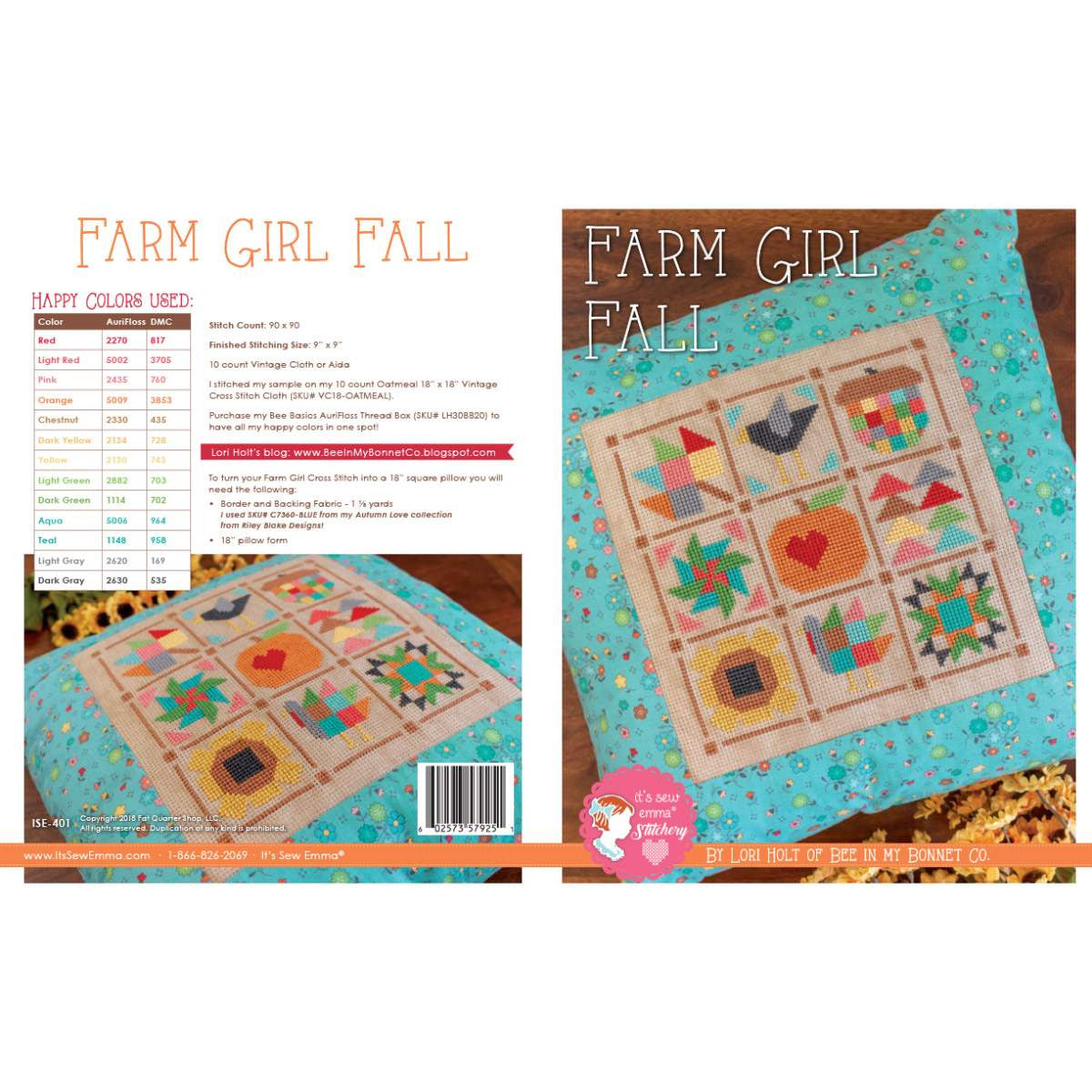 Counted Cross Stitch, It's Sew Emma Pattern by Lori Holt  - FARM GIRL FALL
