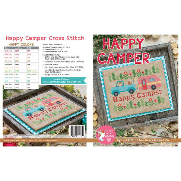 Counted Cross Stitch, It's Sew Emma Pattern by Lori Holt  - HAPPY CAMPER