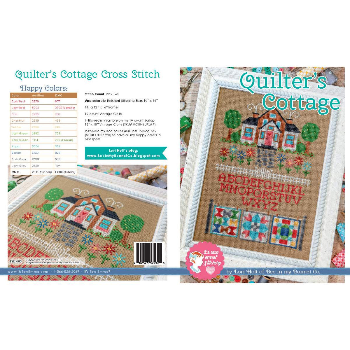 Counted Cross Stitch, QUILTER'S COTTAGE Pattern by Lori Holt