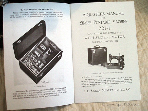 Singer Featherweight 221 Adjuster U0026 39 S And Service Manual