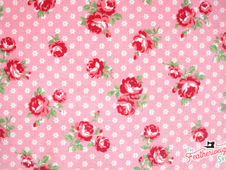 Load image into Gallery viewer, Fabric, PRETTY CLASSIC ROSE, PINK - 30's Collection Feedsack Style Print (by the yard)