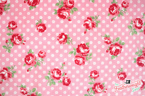 Fabric, PRETTY CLASSIC ROSE, PINK - 30's Collection Feedsack Style Print (by the yard)