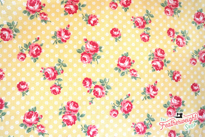 Fabric, PRETTY CLASSIC ROSE, YELLOW - 30's Collection Feedsack Style Print (by the yard)