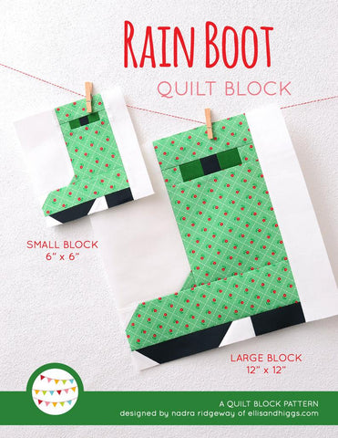 Pattern, Rain Boot Quilt Block by Ellis & Higgs (digital download)