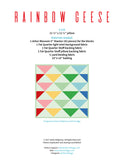 Pattern, Rainbow Geese Pillow Cover / MINI Quilt (digital download)