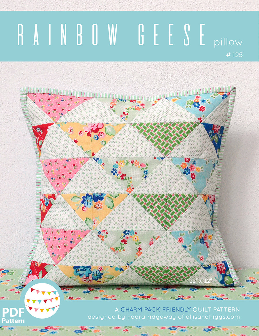 Pattern, Rainbow Geese Pillow Cover / MINI Quilt by Ellis & Higgs (digital download)