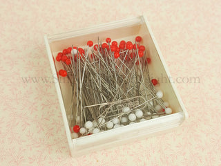 Load image into Gallery viewer, Glass Head Pins, Red & White Super Fine