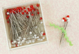Glass Head Pins, Red & White Super Fine