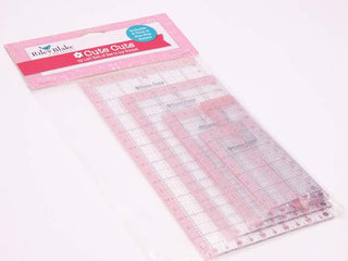 Load image into Gallery viewer, Cutting Ruler SET, Cute Cuts by Lori Holt RECTANGULAR Pink (with self-grips)