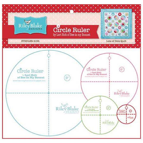 "Circle Ruler Set by Lori Holt of Bee in my Bonnet - 2"", 4"", 6"" and  9"""