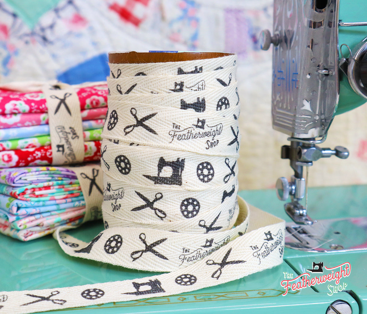 Twill Tape, Featherweight Shop Ribbon featuring the Singer 221, Bobbins and Scissors (sold by the yard)