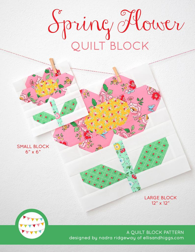 Pattern, Spring Flower Quilt Block by Ellis & Higgs (digital download)