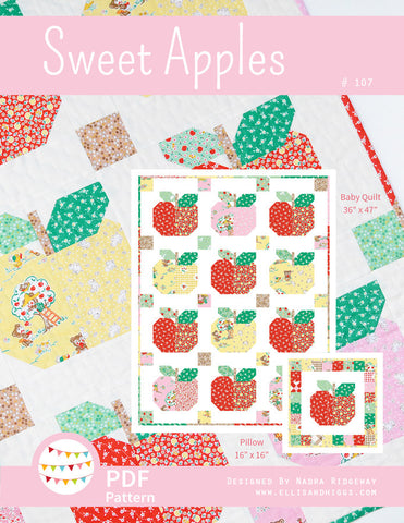 Pattern, Sweet Apples Quilt & Pillow Cover (digital download)