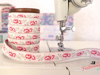 Load image into Gallery viewer, Ribbon, Old Rose Jacquard Ribbon by Tilda - Lucy Dove White (SOLD BY THE YARD)