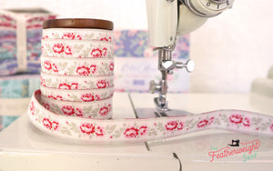 Ribbon, Old Rose Jacquard Ribbon by Tilda - Lucy Dove White (SOLD BY THE YARD)