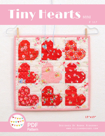 Pattern, Tiny Hearts MINI Quilt (digital download)